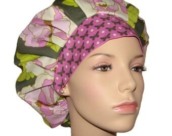 Scrub Hats-Lottie Da Rose Charcoal And Orchid-Scrub Hats For Women-ScrubHeads-Bouffant Scrub Hat-Floral Scrub Hat-Scrub Caps-Surgical Hat