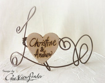 Customize Wire and wooden heart Cake Topper, wire cake topper