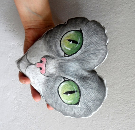 Cat  Plush Pillow,Heart shaped decorative pillow, Hand Painted kitty ornament,  nursery decor