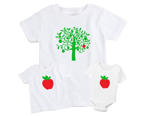 Set of 2 Mother / Father & Daughter / Son Matching T-Shirt - Apple Doesn't Fall Too Far From The Tree