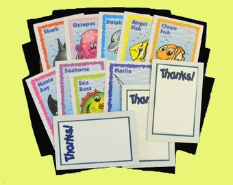 16 Sea Life Thank You Cards. 16 Thank You Gift Tags Upcycled on Fish Playing Cards. BUY 1 OR 2 SETS. 3848