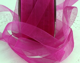 "Hot Pink/Fuchsia Sheer Ribbon 5/8"" wide, Weddings, Gift Wrapping, Sewing, Fuchsia Trim, Scrapbooking, Hair Bows, Bouquets, Party Supplies"