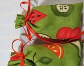 "Lime Green 3""X2"" Sachet-'Country Cupboard' Fragrance-Fruit Sachet-Kitchen Sachet-Orange Ribbon-Herbal Cotton Fabric Sachet-Cindy's Loft-428"