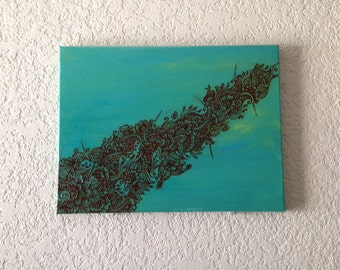 Acrylic Painting with Henna Painting - Aqua Silky Feather, OOAK, Original
