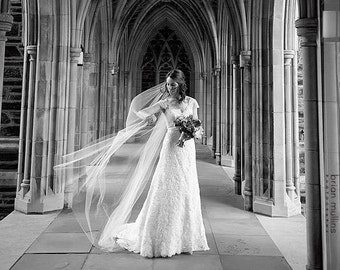 Tapered Chapel Length Veil 72 tapered to 108 in wide bottom 80 inch long white, ivory, champagne, diamond white, cut edge veil teardrop