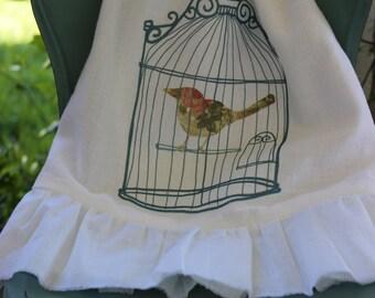 Ruffle, Flour Sack,  Tea Towel, Cottage Inspirational (ROSE BIRDl)