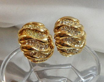 Vintage Rhinestone Earrings. Bold Gold Plated. Showstopper. Clear Rhinestones.