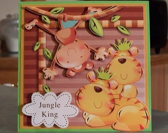 """Decoupage Jungle Themed Birthday Card for Children - 5.5"""" x 5.5"""" - Cute Hanging Monkey & Lion Cubs"""