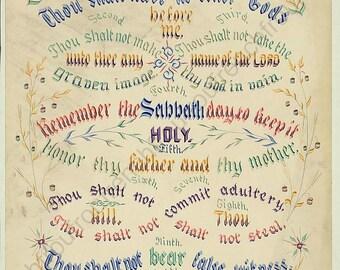 antique victorian illustration catholic religion the ten commandments digital download