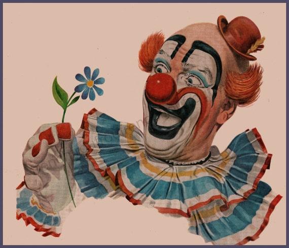 vintage happy clown illustration INSTANT DIGITAL DOWNLOAD