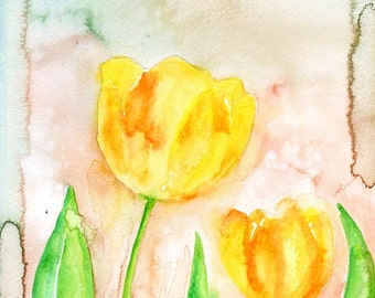 Yellow tulips-wall decor- Nature art-Original watercolor painting 8x10 inch