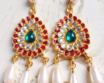 India Earrings Bollywood Rhinestone Red Green Pearl by MinouBazaar