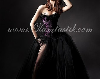 Custom Size plum and black burlesque tulle prom dress small-XL