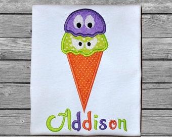Halloween Ice Cream Cone Applique