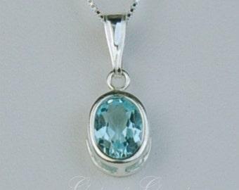 Sky Blue Topaz Sterling Silver Necklace 8x6mm 1.85ct Backset Bezel