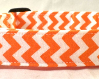Tennessee Orange and White Chevron Zig Zag Stripe Dog Collar