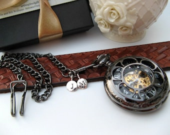Personalized Watch, Black Pocket Watch, Pocket Watch Chain, 2 Silver Letter Charms - Groomsmen Gift - Item MPW156-SSPC