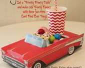 Car Food Box, 1957 Red Chevy Car Food Box Tray, 6 Car Food Boxes, Car Box, Cute Kids Boxes, Kids Food Tray, Vintage Food Truck, Party Plate
