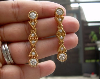 Stunning Vintage Gold Plated Authentic Swarovski dangle Earrings ~ Stamped