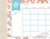 Monthly Desk Calendar - Monthly Desk Calendar - Shell CORAL COLLECTION -11x17 - fill in your own dates - 53 Sheets