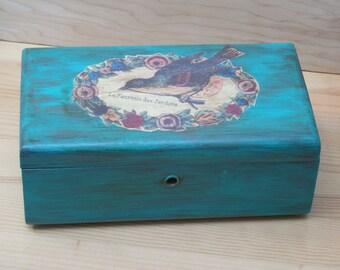 Turquoise Wooden Jewelry Box, Cedar hope chest miniature, stash box, hand painted jewelry box, cedar lane chest, keepsake cedar stash box