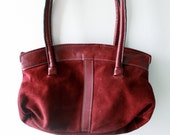 Vintage Burgundy Genuine Leather Handbag - Modern Retro Purse with Handles