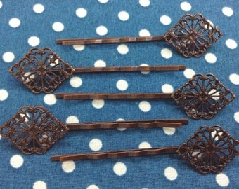 10 Pcs Antique Copper Bobby Pin W/Filigree, NICKEL FREE (BB02)