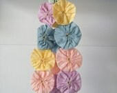 Pinwheel Flowers Vintage Fabric Curtain Tiebacks Pretty Pastels