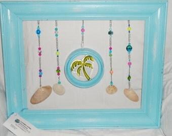 Distressed Wooden Frame with Glass Palm Tree Seashells Beaded Chain Art Beach House Decor Coastal Decor Tropical Art