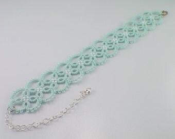 Mint lace bridesmaid bracelet, Mint Prom bracelet, Mint Tatted lace bracelet, Mint Bridal Party Bracelet, Mint Lace Jewelry, Bridesmaid gift
