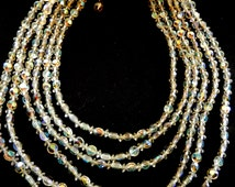 1950s Vintage Six Strand cascading Crystal Beads  Italian  Necklace-Gorgeous light,  shades by Aurora Borealis--Art.125/3 -