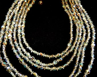 1950s Vintage Six Strand cascading Crystal Beads  Italian  Necklace-Gorgeous light,  shades by Aurora Borealis--Art.125/3 -