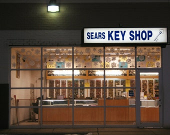 Chicago Photo, KEY SHOP at NIGHT, Chicago Photography, Chicago Art, mid century vintage sign, Portage Park, Six Corners, paper snowflakes
