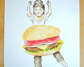 Original painting on paper - Burger Ballerina