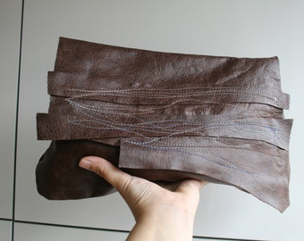 Brown leather clutch bag, metalic embrodery boho style italian leather clutch bag, brown summer clutch bag ON SALE
