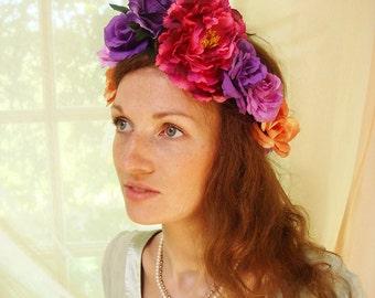 Purple peony hair crown, festival headbnad, wedding accessory. rose crown