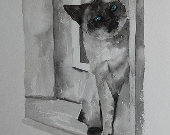 Watercolor Cat Print Limited Edition- Siamese Cat Watercolor Print