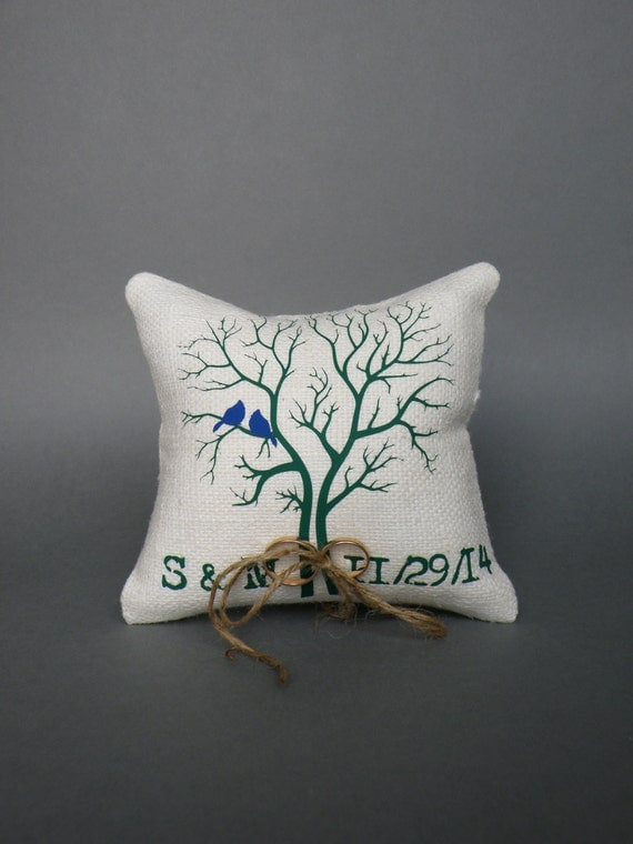 Wedding rustic natural linen Ring Bearer Pillow Royal Blue Birds on dark green tree and linen rope