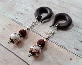 Rustic Red Holistien Cow Ceramic Gauged Earrings Plugs