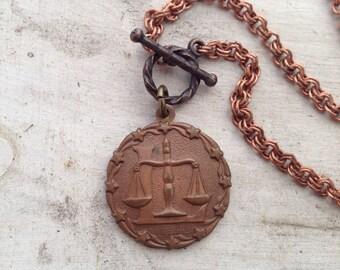 Super SALE Zodiac Vintage Charm Copper Necklace Libra