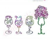 Curly Wine Glass 1-4 Set -Instant Download - All of our curly wine glasses grouped together- Instant Email Delivery Download