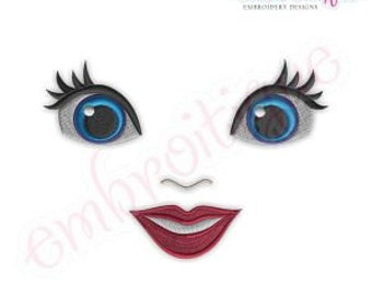 Doodley Doll Face 12 - several sizes included- Instant Email Delivery Download Machine embroidery design