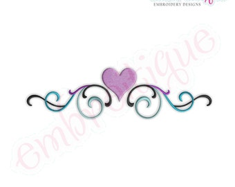 Flourish Border with Heart Embroidery Design- Instant Download Machine Embroidery Design