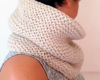 Cream Scarf, Handmade Scarf, Knitting Scarf, Women Scarf, Gift, Christmas