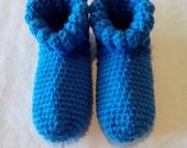 crochet slippers / women's / blue / m/l