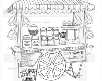 Candy Cart Digital Stamp