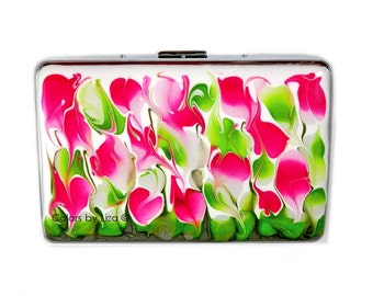 Metal Cigarette Case Hand Painted Glossy Enamel Fuchsia and Lime Green Metal Wallet with Personalized and Color Options