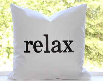 """Relax Pillow Cover 18"""" x 18"""" White Cotton Fabric with Black Embroidery"""