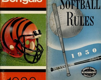 2 Books, 1950 Official Soft Ball Rules Book, Lousiville Slugger, and Cincinnati Bengals 1983 Schedule, Team Records, History Books, Owners