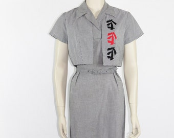 1960s Vintage Dress and Jacket - Women's Black and White Checkered Cotton with Asian Characters - 36 / 27 / 38